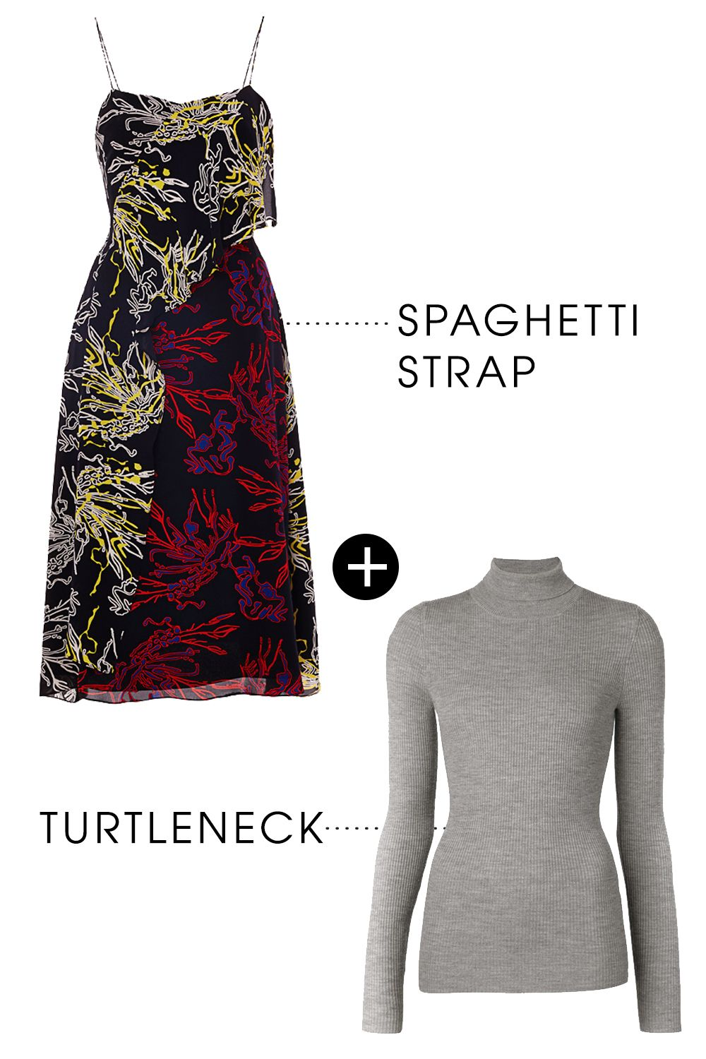 """<p>You can never have too many turtlenecks in your closet. On their own, they're great basics. Worn under a spaghetti strap dress (even the most colorful!) and they become the perfect solution to all your transitional dressing woes. </p><p>Tanya Taylor Bella Dress, $650; <a href=""""https://tanyataylor.com/shop/reef-print-asymmetrical-paneled-silk-dress?taxon_id=26"""">tanyataylor.com</a></p><p>Barbara Bui Ribbed Turtleneck Sweater, $395; <a href=""""http://rstyle.me/n/bd3a35bc6jf"""">farfetch.com</a></p>"""
