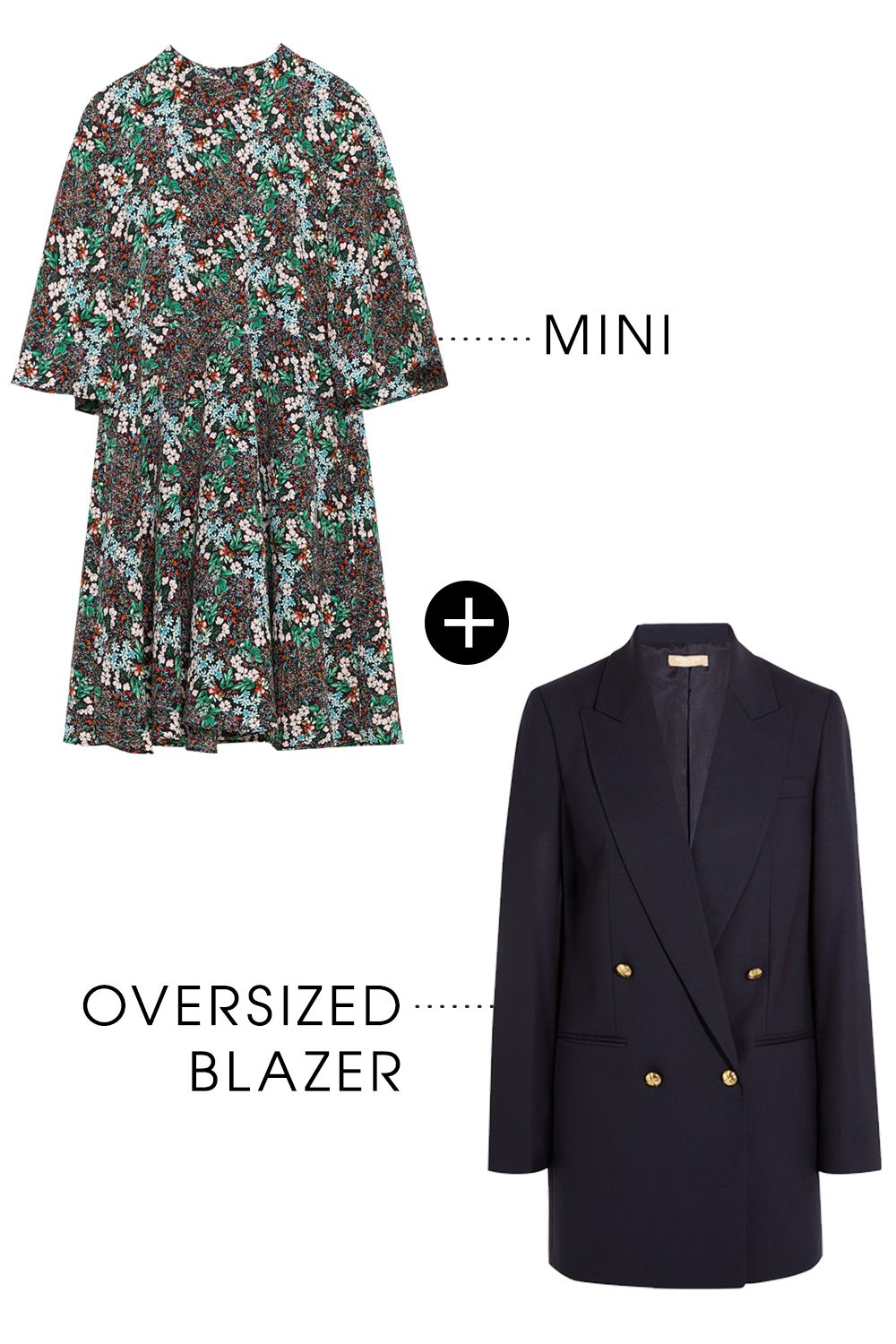 """<p>An oversized blazer is wardrobe staple that works across season season. Use it to play with proportion, like pairing a mini dress with a larger sweater or jacket, for a no-fail layering trick.</p><p>Zara Multicolor Dress with Flared Sleeves, $50; <a href=""""http://www.zara.com/us/en/woman/dresses/view-all/multicolored-dress-with-flared-sleeves-c733885p3026544.html"""">zara.com</a></p><p>Michael Kors Collection Stretch Wool Gaberdine Blazer, $1,250; <a href=""""http://rstyle.me/n/bdwxkrbc6jf"""">net-a-porter.com</a></p>"""