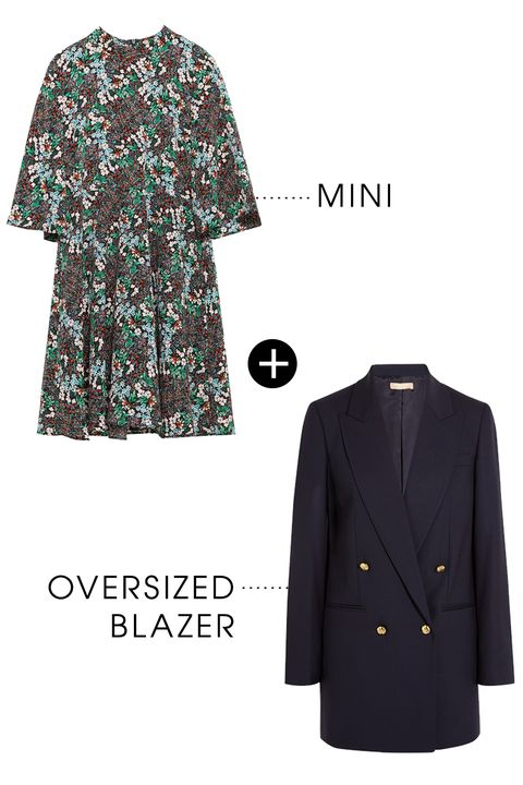 "<p>An oversized blazer is wardrobe staple that works across season season. Use it to play with proportion, like pairing a mini dress with a larger sweater or jacket, for a no-fail layering trick.</p><p>Zara Multicolor Dress with Flared Sleeves, $50; <a href=""http://www.zara.com/us/en/woman/dresses/view-all/multicolored-dress-with-flared-sleeves-c733885p3026544.html"">zara.com</a></p><p>Michael Kors Collection Stretch Wool Gaberdine Blazer, $1,250; <a href=""http://rstyle.me/n/bdwxkrbc6jf"">net-a-porter.com</a></p>"