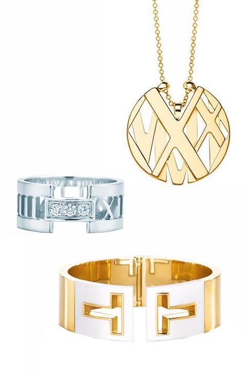 <p>Tiffany's Atlas Round Pendant, $1,600; tiffany.com</p><p>Tiffany's Atlas Open Ring, $2,100; tiffany.com</p><p>Tiffany's T Cutout Cuff, $8,500; tiffany.com</p>