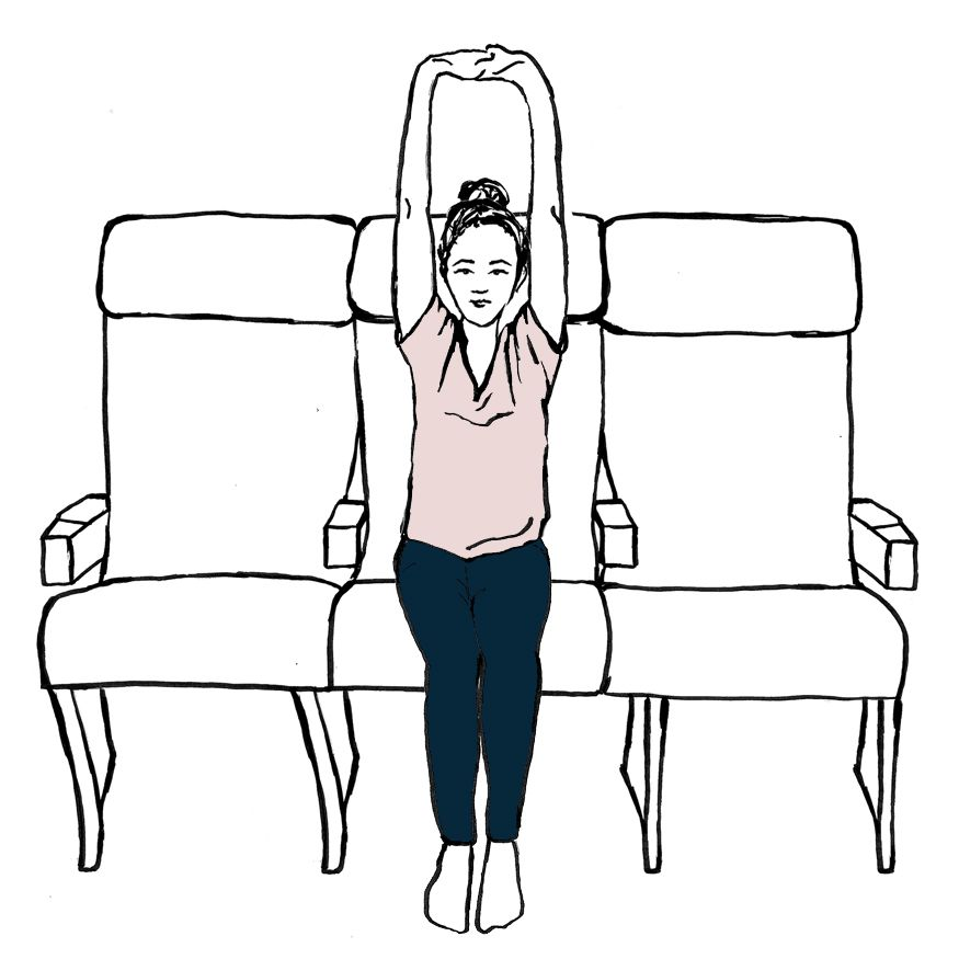 <p>Keeping your fingers interlaced and your palms facing up, take a deep inhale through your nose and, as you exhale, lean to the left. Try to keep the right side of your seat rooted down into the chair. As you inhale, come back to the center. Exhale and lean to the right. Try to keep the left side of the seat from lifting off the chair. Go back and forth between left and right three times. Lean on each exhale and come back to center on each inhale.</p>