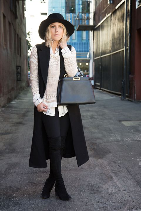 <p>You don't need to get <em>all</em> dressed up for a Thanksgiving potluck with friends. A wide-brimmed hat and thigh-high boots keep you warm as you head cross-town and help you make a grand entrance. Piled-on layers create a cozy, all-day look. </p>