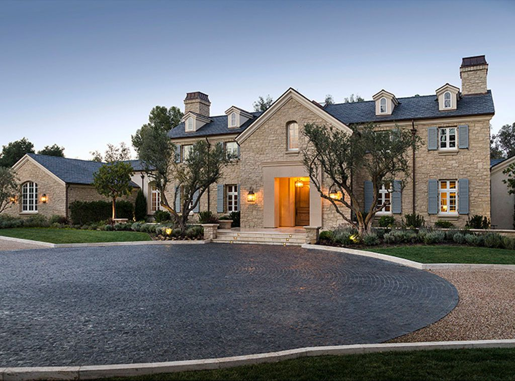 Exterior of Hidden Hills stone home: Kim Kardashian & Kanye West's French Country Home