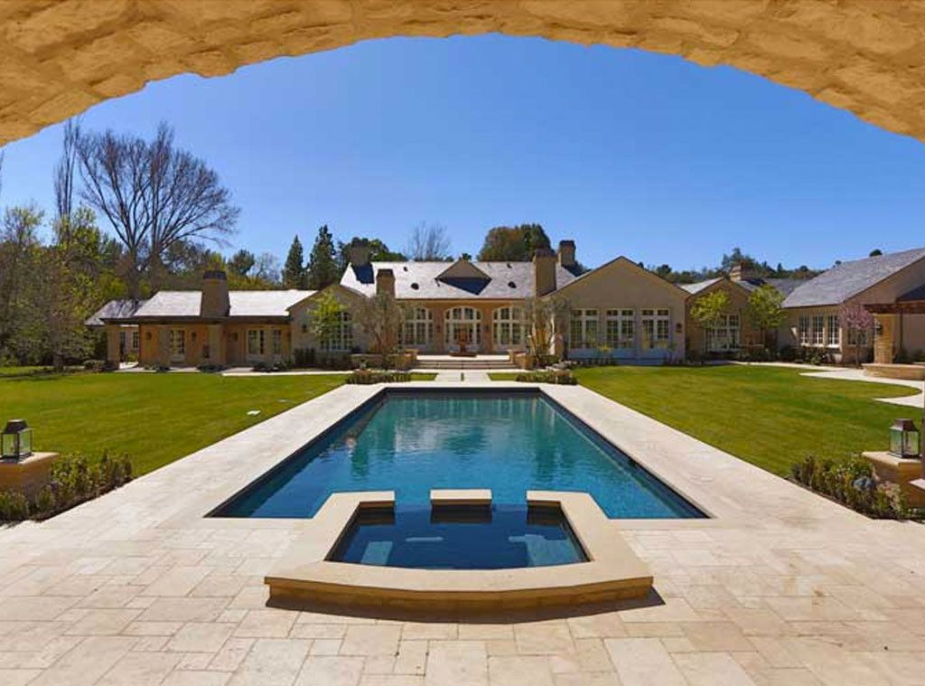 Pool and backyard of #Kimye estate: Interior Design: Kim Kardashian & Kanye West's French Country Home