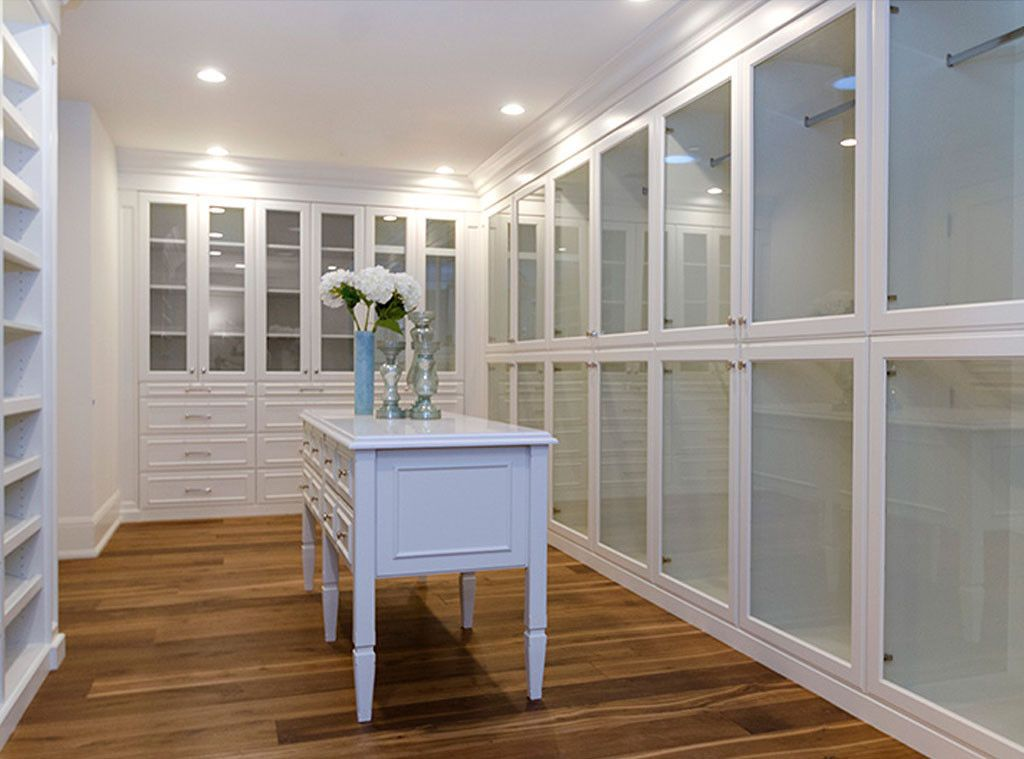 Luxurious white closet in Hidden Hills mansion #Kimye: Interior Design: Kim Kardashian & Kanye West's French Country Home