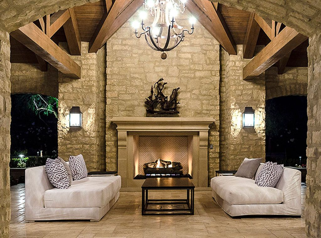 Stone walls in pavilion of #Kimye estate: Interior Design: Kim Kardashian & Kanye West's French Country Home