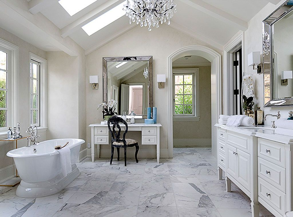 Kim Kardashian's #luxuriousbathroom in Hidden Hills: Interior Design: Kim Kardashian & Kanye West's French Country Home