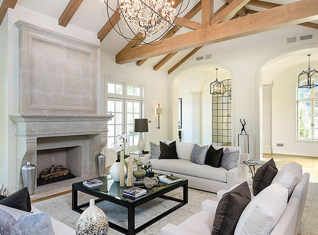 Elegant French fireplace in great room of celebrity house #Kimye: Interior Design: Kim Kardashian & Kanye West's French Country Home