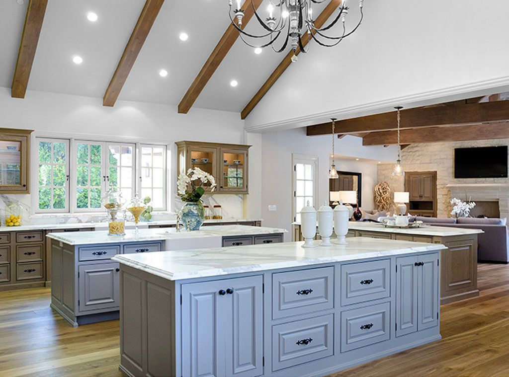 Celebrity kitchen with three islands #Kimye: Interior Design: Kim Kardashian & Kanye West's French Country Home