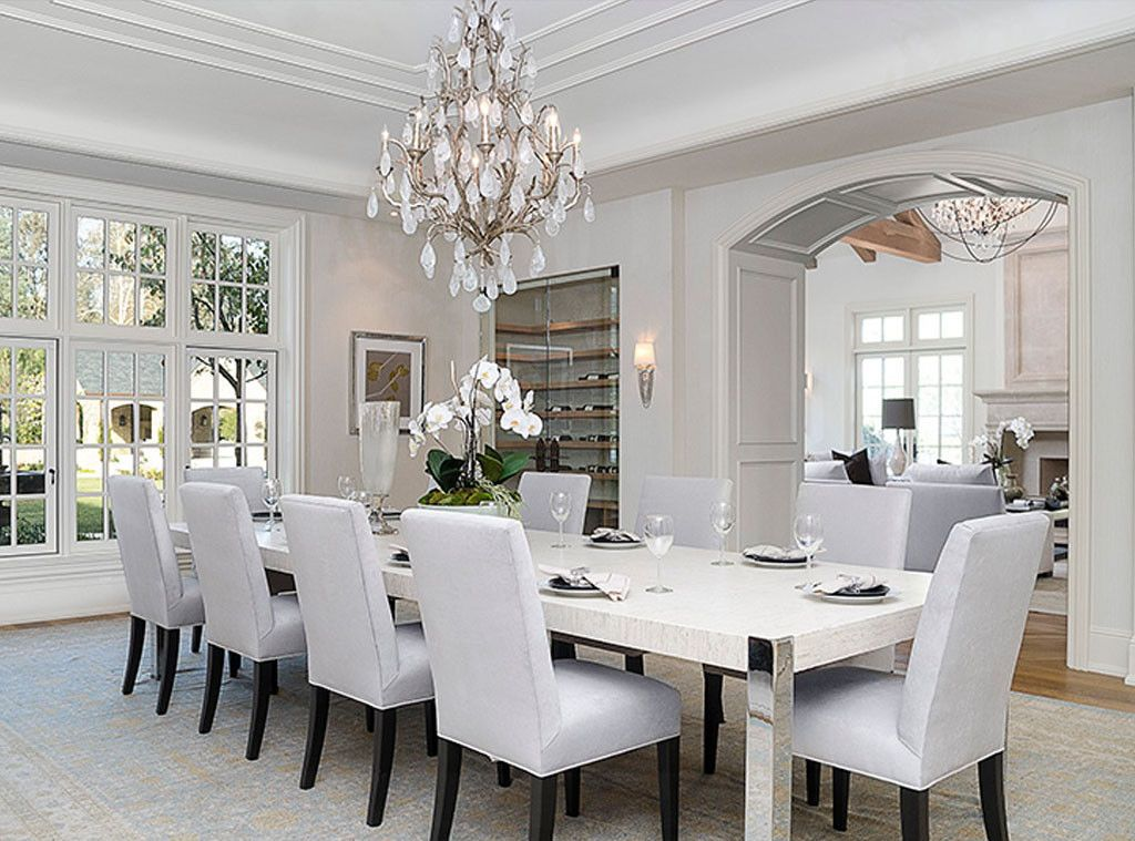 Elegant all-white dining room of #KimKardashian: Interior Design: Kim Kardashian & Kanye West's French Country Home