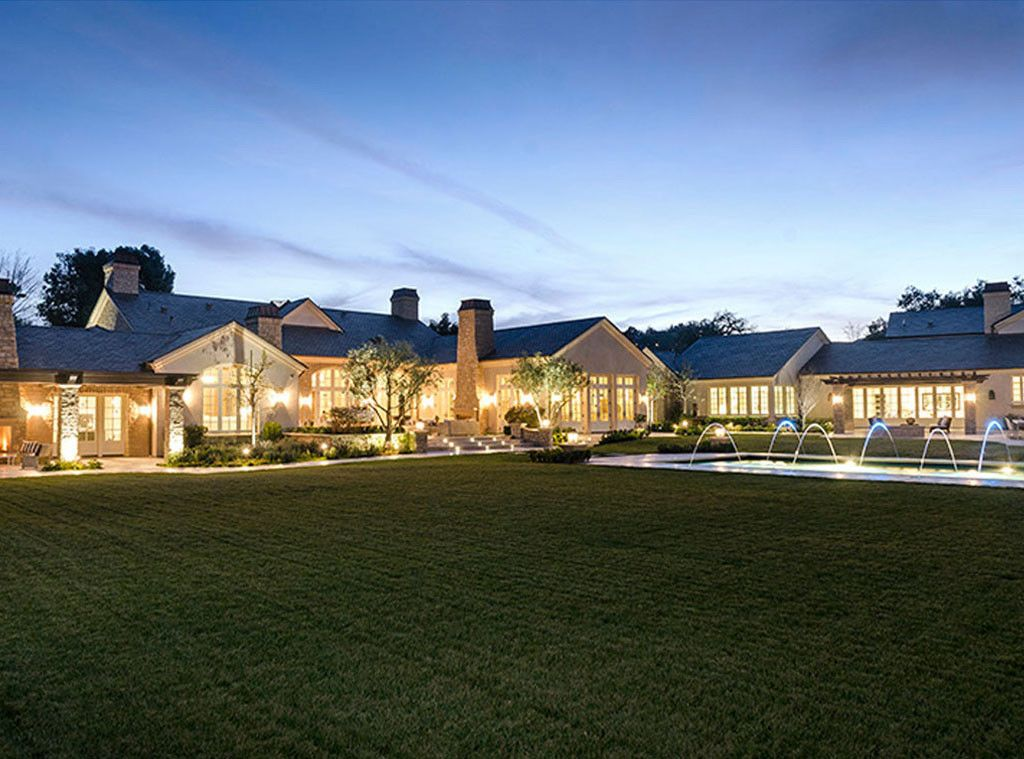 Kim and Kanye's Hidden Hills home exterior lit at night: Interior Design: Kim Kardashian & Kanye West's French Country Home