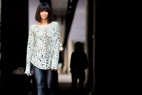 Standing, Street fashion, Denim, Black hair, Fashion, Black, Bangs, Flash photography, Waist, Fashion model,