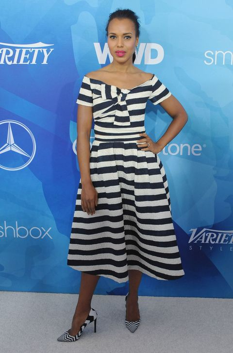 <p>Who: Kerry Washington</p><p>When: November 19, 2015</p><p>Why: Everything about this striped look is amazing: the neckline, the nipped waist, the matching Nicholas Kirkwood heels. Kerry Washington's style is reliably chic and constant, unlike the rollercoaster that is <em>Scandal... </em>LAST. NIGHT'S. EPISODE. <em></em></p>
