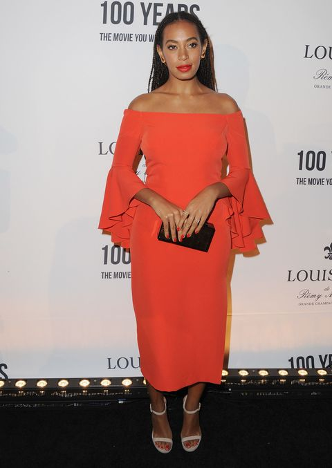 <p>Who: Solange Knowles</p><p>When: November 18, 2015</p><p>Why: Always a fan of bold colors, Solange Knowles wore a bright off-the-shoulder dress that stole our hearts. The red accents of her makeup complement the tangerine dress. </p>