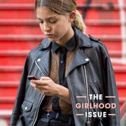 Jacket, Collar, Outerwear, Leather, Street fashion, Leather jacket, Blond, Zipper, Brown hair, Top,