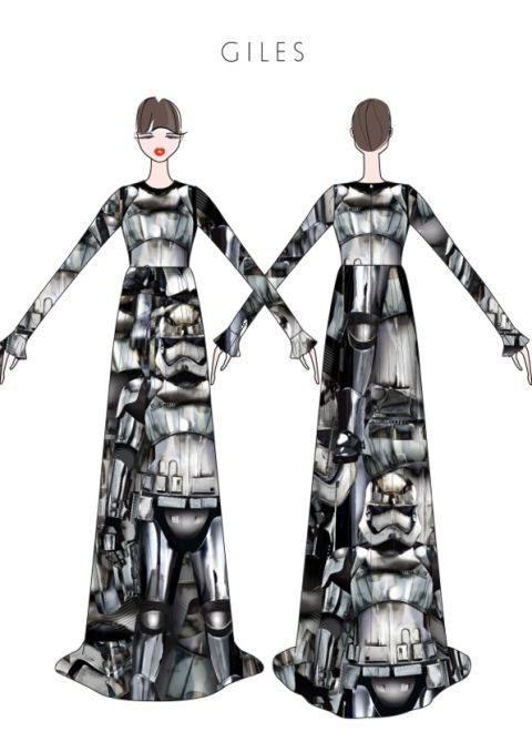 "<p>""The dress I have created for the ""Force for Change"" charity event is a long sleeved double georgette gown with an all over print inspired by Gwendoline Christie's character Captain Phasma, it has been great fun designing the dress whilst helping to support the Child Mind Institute"" – Giles Deacon</p>"