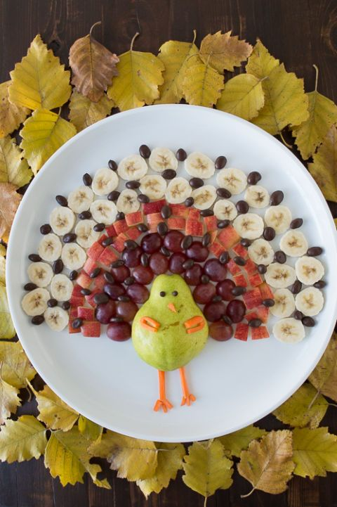 "<p>Pinterest says that turkey-shaped trays of fruit and veggies are popular ways to serve healthy appetizers—just make sure to snap a photo of your masterpiece before your guests dig in!</p><p><a href=""https://www.pinterest.com/pin/535506211921668275/"" target=""_blank"">Pin it.</a> </p>"