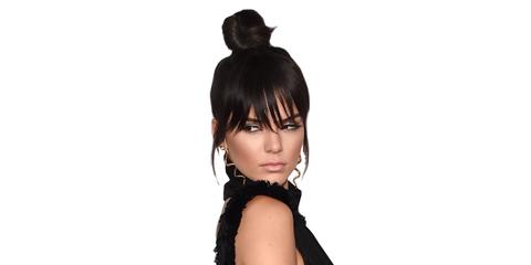 Hairstyle, Eyelash, Bangs, Black hair, Costume accessory, Neck, Black, Long hair, Headpiece, Flash photography,
