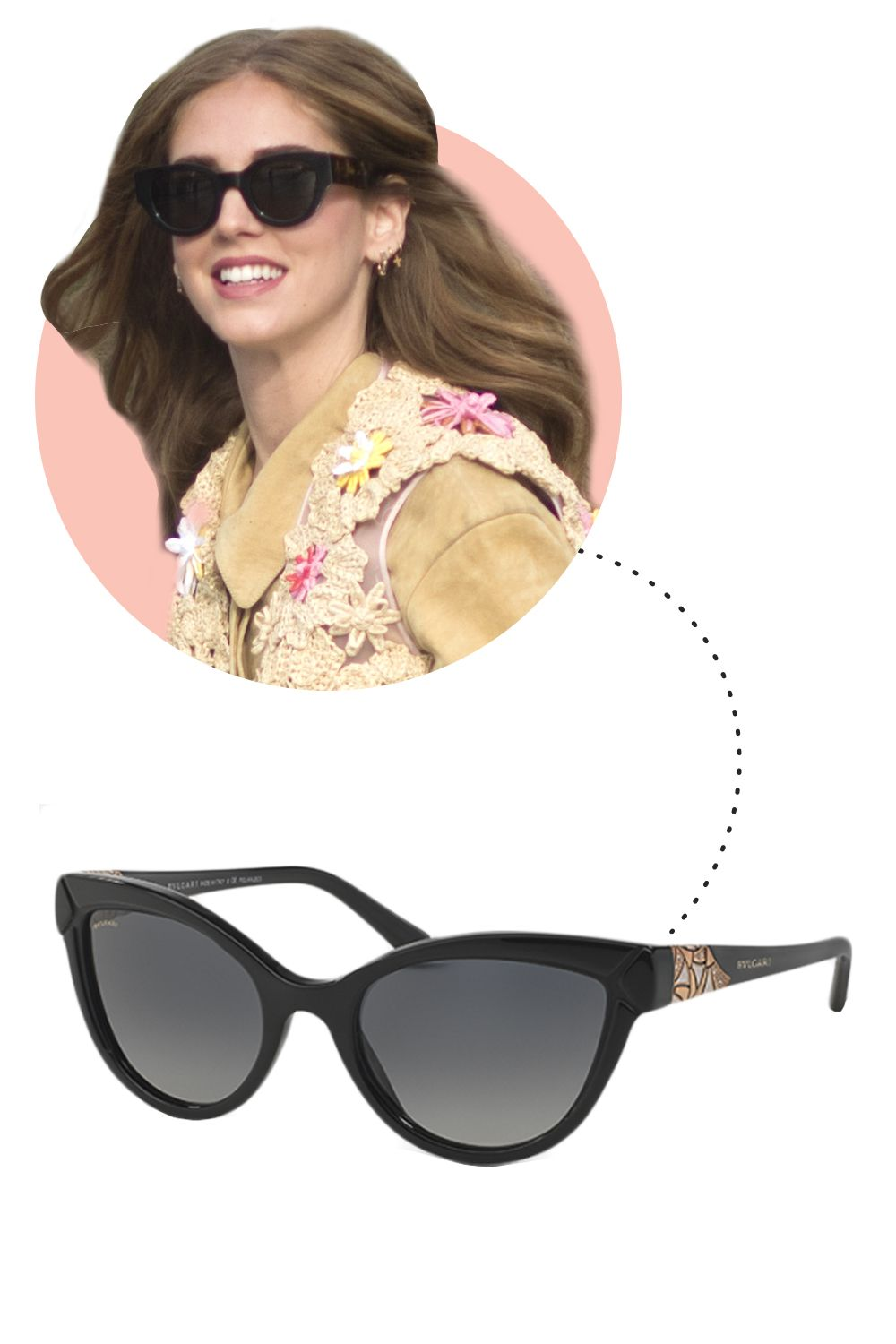 "<p>Italian street style stars are rarely seen without a massive pair of sunglasses, <em>alla moda</em>! </p><p>Bulgari Diva Sunglasses, $500; <a href=""http://www.bulgari.com/en-us/products/902787-e.html"">bulgari.com</a></p>"