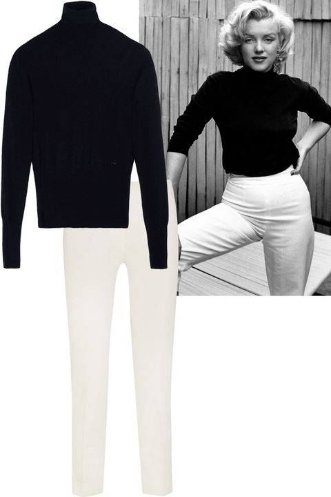"<p>Black turtle neck + high waisted cigarette pants</p><p><strong>DSquared2</strong> turtleneck, $590, <a href=""https://shop.harpersbazaar.com/designers/d/dsquared2/black-wool-turtleneck-6046.html"">shopBAZAAR.com</a>; <strong>Etro </strong>cigarette pants, $450, <a href=""http://www.net-a-porter.com/us/en/product/636148/Etro/sigaretta-pique-straight-leg-pants"">net-a-porter.com</a>.</p>"