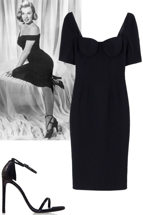 "<p>Hiphugging dress, midi length + strappy black heels</p><p><strong>Dolce & Gabbana</strong> dress, $2,945, <a href=""https://shop.harpersbazaar.com/designers/d/dolce-and-gabbana/black-crepe-fitted-dress-5097.html"">shopBAZAAR.com</a>; <strong>Stuart Weitzman</strong> heel, $415, <a href=""https://shop.harpersbazaar.com/designers/s/stuart-weitzman/nudist-textured-sandal-6172.html"">shopBAZAAR.com</a>.</p>"