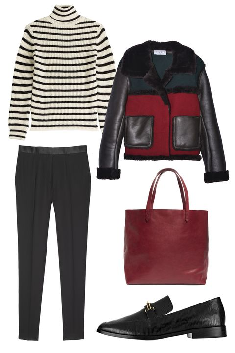"<p>You know everyone else is going to be in jeans, so rather than wear a dress, pair a standout jacket with a chic wool turtleneck and black skinny pants. You'll feel warm and look cool. </p><p>IRO Striped Turtleneck With Alpaca and Wool, $225; <a href=""http://rstyle.me/n/betnqwbc6jf"">stylebop.com</a></p><p>Sandro Violat Jacket, $1,425; <a href=""http://us.sandro-paris.com/en/womens/fall-collection/violat-jacket/3607170861720.html"" target=""_blank"">us.sandro-paris.com</a></p><p>Sandro Peps Trousers, $260; <a href=""http://us.sandro-paris.com/en/womens/fall-collection/peps-trousers/P5297H.html?dwvar_P5297H_color=20"" target=""_blank"">us.sandro-paris.com</a></p><p>Madewell ""The Transport"" Tote, $168; <a href=""http://rstyle.me/n/betnt2bc6jf"">madewell.com</a></p><p>Newbark Melanie Lizard-Effect Leather Loafers, $795; <a href=""http://rstyle.me/n/betnurbc6jf"">net-a-porter.com</a></p>"