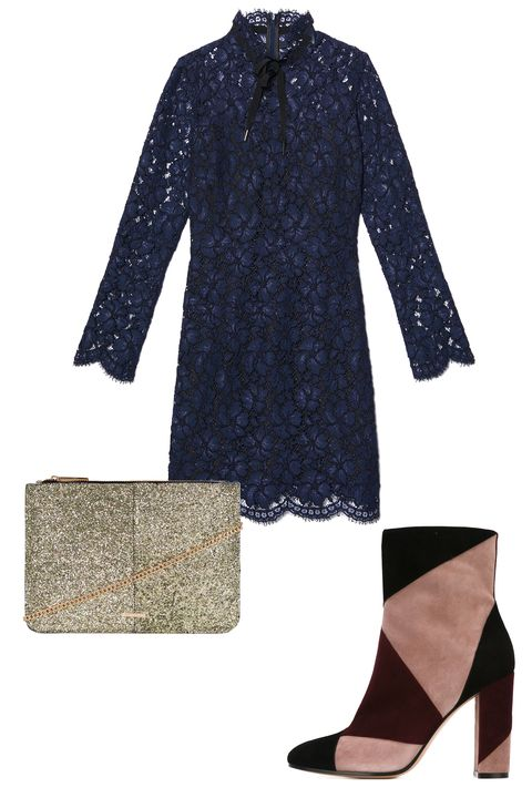 "<p>A table with your folks (or your S.O.'s) doesn't have to equate to a sedate outfit. A high neck, lace dress with a cool pair of colorful booties will provide ample dinner conversation.</p><p>Sandro Rina Dress, $530; <a href=""http://us.sandro-paris.com/en/womens/fall-collection/rina-dress/R4311H.html?dwvar_R4311H_color=44"" target=""_blank"">us.sandro-paris.com</a></p><p>Topshop Glitter Zip Top Clutch, $40; <a href=""http://rstyle.me/n/betn4ibc6jf"">topshop.com</a></p><p>Gianvito Rossi Paneled High-Heel Boots, $910; <a href=""http://rstyle.me/n/betn6zbc6jf"">farfetch.com</a></p>"