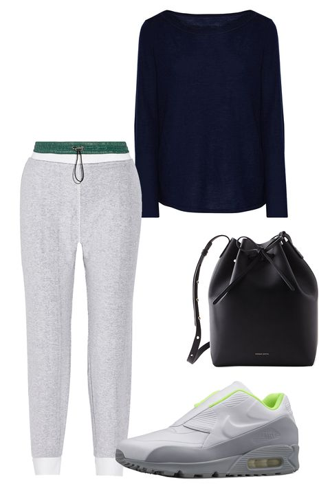 "<p>If you <em>really</em> don't feel like getting dressed for dinner, team an off-the-shoulder sweater with skinny sweats. Sneakers and a bucket bag match the easy-going vibe. </p><p>T By Alexander Wang Shell-Trimmed Cotton French Terry Straight-Leg Pants, $88; <a href=""https://www.theoutnet.com/en-US/product/T-by-Alexander-Wang/Shell-trimmed-cotton-French-terry-straight-leg-pants/654732"">theoutnet.com</a> ; ATM Anthony Thomas Melillo Cashmere sweater, $178; <a href=""https://www.theoutnet.com/en-US/product/ATM-Anthony-Thomas-Melillo/Cashmere-sweater/657680"">theoutnet.com</a>; Nike Lab x Sacai Air Max 90, $175; <a href=""http://nike.com http://store.nike.com/us/en_us/pd/nikelab-x-sacai-air-max-90-shoe/pid-10284909/pgid-10340230"">nike.com</a>; Mansur Bucket Bat, $595; <a href=""http://www.stevenalan.com/BUCKET-BAG/ALL_NA_ALL_003A.html?dwvar_ALL__NA__ALL__003A_color=1076#start=2"">stevenalan.com</a> <span class=""redactor-invisible-space""></span>  </p>"