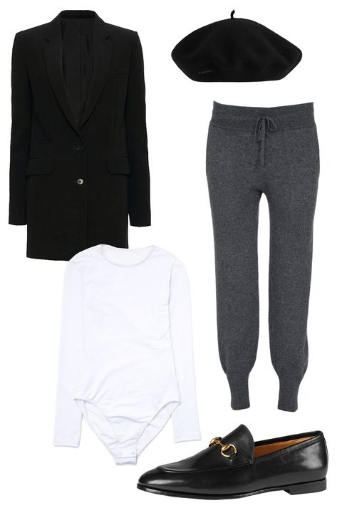 "<p>If you want to make it look like you put in at least a <em>little</em> bit of effort, add some polish to cashmere sweats with a sharp blazer, loafers, and a beret. </p><p>White and Warren Essential Cashmere Pant $330; <a href=""http://www.whiteandwarren.com/essential-cashmere-pant-16 "">whiteandwarren.com</a>; Classic Bodysuit, $34; <a href=""http://store.americanapparel.net/classic-bodysuit_rsa83116?c=Red "">americanapparel.com</a>; Helmut Lang Tech Stretch Suiting Blazer, $795; <a href="" http://www.intermixonline.com/product/helmut+lang+tech+stretch+suiting+blazer.do?sortby=ourPicks&from=fn&"">intermixonline.com</a><span class=""redactor-invisible-space"">; Gucci Jordaan Leather Loafer, $695; <a href=""http://www.gucci.com/us/en/pr/women/womens-shoes/womens-moccasins-loafers/gucci-jordaan-leather-loafer-p-404069BLM001000?position=1&listName=VariationOverlay"">gucci.com</a><span class=""redactor-invisible-space"">; Kangol Modelaine Beret, $52; <a href=""http://www.kangolstore.com/headwear/shape/berets/modelaine-beret.html "">kangolstore.com</a>  <span class=""redactor-invisible-space""></span></span></span><br></p>"