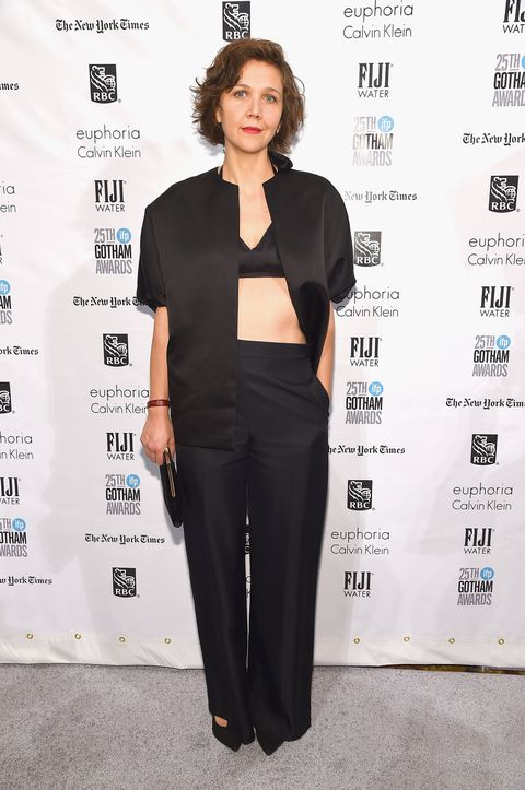 <p>Who: Maggie Gyllenhaal</p><p>When: November 30, 2015</p><p>Why: Maggie nailed the formal-bra-as-top this week. The all-black outfit is low-key courtesy of the oversize proportions, but the flash of her midriff adds sex appeal. </p>