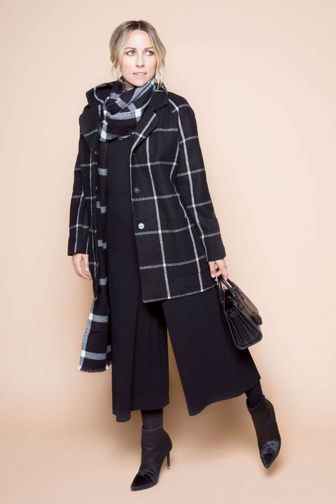 """<p>You can't go wrong with white-accented black on black (on black on black). It's eternally chic—even when the prints aren't identical. The key? Commit to wearing ebony from head to toe. """"Plaid can feel a bit too casual and underdressed,"""" Duprie says. """"An all-black base elevates the entire look to dressy and sophisticated.""""</p>"""