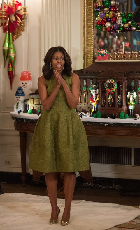 <p>Who: Michelle Obama</p><p>When: December 2, 2015</p><p>Why: FLOTUS put us in a cheery mood this week, and it's not just because she presented the annual preview of the White House's holiday decor. Her Michael Kors Collection dress and metallic heels were a great example of festive attire. </p>