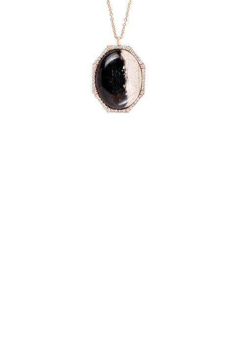 """<p>Monique Pen Petrified Palm Wood and White Diamond Octagonal Necklace, $5,645; <a href=""""http://moniquepean.com/shop/necklaces/ncd634r-petrified-palm-wood-and-diamond-octagonal-necklace.html"""">moniquepean.com</a></p>"""
