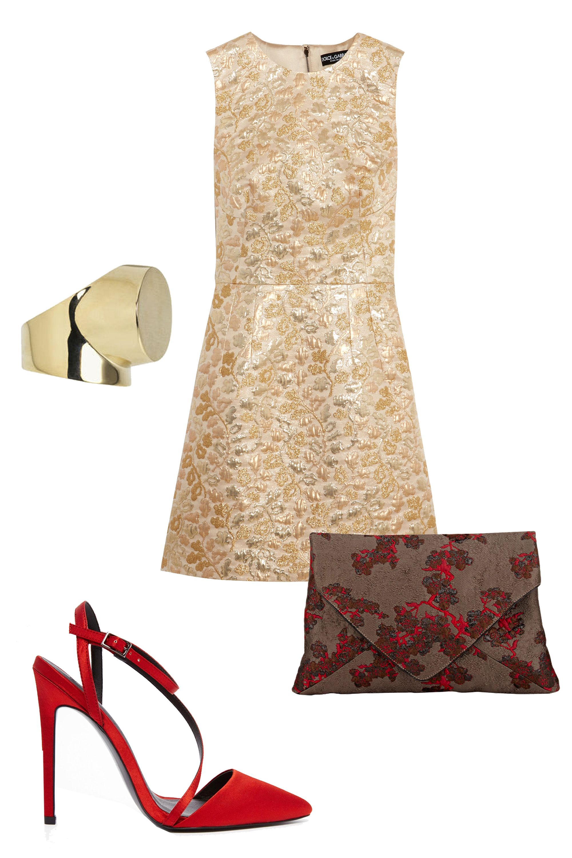"<p>You can skip the hoisery for your mom's holiday fete. Vibrant accessories in shades of red won't seem too risque in this environment. </p><p>Dolce & Gabbana Metallic Brocade Mini Dress, $2,295; <u><a href=""http://www.net-a-porter.com/us/en/product/644449/dolce___gabbana/metallic-brocade-mini-dress"" target=""_blank"">net-a-porter.com</a></u><br></p><p><u><a href=""http://www.net-a-porter.com/us/en/product/644449/dolce___gabbana/metallic-brocade-mini-dress""></a></u>Dries Van Noten Envelope Clutch, $429; <a href=""http://www.barneys.com/dries-van-noten-envelope-clutch-504202148.html#prefn1=productAccess&sz=48&start=148&prefv1=isPublic"" target=""_blank""><u>barneys.com</u></a></p><p>ASOS Primrose Pointed Heels, $76; <a href=""http://us.asos.com/asos/asos-primrose-pointed-heels/prod/pgeproduct.aspx?iid=5680280&clr=Rust&SearchQuery=ASOS+PRIMROSE&SearchRedirect=true"" target=""_blank""><u>asos.com</u></a></p><p>By Malene Birger Saint Ring, £89; <a href=""http://www.bymalenebirger.com/gb/jewellery/saint-ring-Q57095023.html?cgid=Wc1364786&dwvar_Q57095023_color=002"" target=""_blank""><u>bymalenebirger.com</u></a></p>"