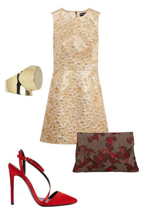"""<p>You can skip the hoisery for your mom's holiday fete. Vibrant accessories in shades of red won't seem too risque in this environment. </p><p>Dolce & Gabbana Metallic Brocade Mini Dress, $2,295; <u><a href=""""http://www.net-a-porter.com/us/en/product/644449/dolce___gabbana/metallic-brocade-mini-dress"""" target=""""_blank"""">net-a-porter.com</a></u><br></p><p><u><a href=""""http://www.net-a-porter.com/us/en/product/644449/dolce___gabbana/metallic-brocade-mini-dress""""></a></u>Dries Van Noten Envelope Clutch, $429; <a href=""""http://www.barneys.com/dries-van-noten-envelope-clutch-504202148.html#prefn1=productAccess&sz=48&start=148&prefv1=isPublic"""" target=""""_blank""""><u>barneys.com</u></a></p><p>ASOS Primrose Pointed Heels, $76; <a href=""""http://us.asos.com/asos/asos-primrose-pointed-heels/prod/pgeproduct.aspx?iid=5680280&clr=Rust&SearchQuery=ASOS+PRIMROSE&SearchRedirect=true"""" target=""""_blank""""><u>asos.com</u></a></p><p>By Malene Birger Saint Ring, £89; <a href=""""http://www.bymalenebirger.com/gb/jewellery/saint-ring-Q57095023.html?cgid=Wc1364786&dwvar_Q57095023_color=002"""" target=""""_blank""""><u>bymalenebirger.com</u></a></p>"""