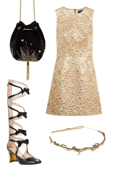 """<p>Now this is where you should experiment, and we're not just talking about drinking those questionable cocktails your BFF just mixed in the corner. Honestly, there aren't many occasions to wear a laurel leaf tiara, but you know your friends will appreciate it. </p><p>Dolce & Gabbana Metallic Brocade Mini Dress, $2,295; <u><a href=""""http://www.net-a-porter.com/us/en/product/644449/dolce___gabbana/metallic-brocade-mini-dress"""" target=""""_blank"""">net-a-porter.com</a></u><br></p><p><u><a href=""""http://www.net-a-porter.com/us/en/product/644449/dolce___gabbana/metallic-brocade-mini-dress""""></a></u>Gucci Embellished Cut-Out Boots, $2,300; <a href=""""http://www.mytheresa.com/en-us/embellished-cut-out-boots.html?catref=category"""" target=""""_blank""""><u>mytheresa.com</u></a></p><p>Zara Velvet Evening Bucket Bag, $50; <a href=""""http://www.zara.com/us/en/woman/bags/view-all/velvet-evening-bucket-bag-c734144p3141014.html"""" target=""""_blank""""><u>zara.com</u></a></p><p>Jennifer Behr Delicate Laurel Leaf Bandeaux, $298; <u><a href=""""http://www.jenniferbehr.com/catalog/product/view/id/4315/s/delicate-laurel-leaf-bandeaux/"""" target=""""_blank"""">jenniferbehr.com</a></u></p>"""