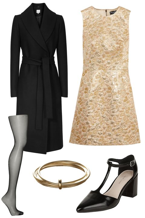 """<p>Avoid being the subject of Monday morning's water cooler chat with safe but chic accessories like sturdy block heels. For added measure, wear sheer tights underneath your dress to keep this high hemline conservative. </p><p>Dolce & Gabbana Metallic Brocade Mini Dress, $2,295; <u><a href=""""http://www.net-a-porter.com/us/en/product/644449/dolce___gabbana/metallic-brocade-mini-dress"""" target=""""_blank"""">net-a-porter.com</a></u><br></p><p><u><a href=""""http://www.net-a-porter.com/us/en/product/644449/dolce___gabbana/metallic-brocade-mini-dress""""></a></u>Falke Pure Matt 20 Tights, $30; <a href=""""http://www.net-a-porter.com/us/en/product/548411/falke/pure-matt-20-tights"""" target=""""_blank""""><u>net-a-porter.com</u></a></p><p>New Look Wide Fit Black Pointed T-Bar Block Heels, £23; <a href=""""http://www.newlook.com/shop/shoe-gallery/view-all-wide-fit/wide-fit-black-pointed-t-bar-block-heels-_354296201"""" target=""""_blank""""><u>newlook.com</u></a></p><p>Reiss Lennie Long-Length Wrap Coat, $620; <a href=""""https://www.reiss.com/us/p/longlength-wrap-coat-womens-lennie-in-black/?category_id=1124"""" target=""""_blank""""><u>reiss.com</u></a></p><p>Trademark Multi-Bangle, $168; <a href=""""http://www.trade-mark.com/multi-bangle.html?___store=default"""" target=""""_blank""""><u>trade-mark.com</u></a></p>"""