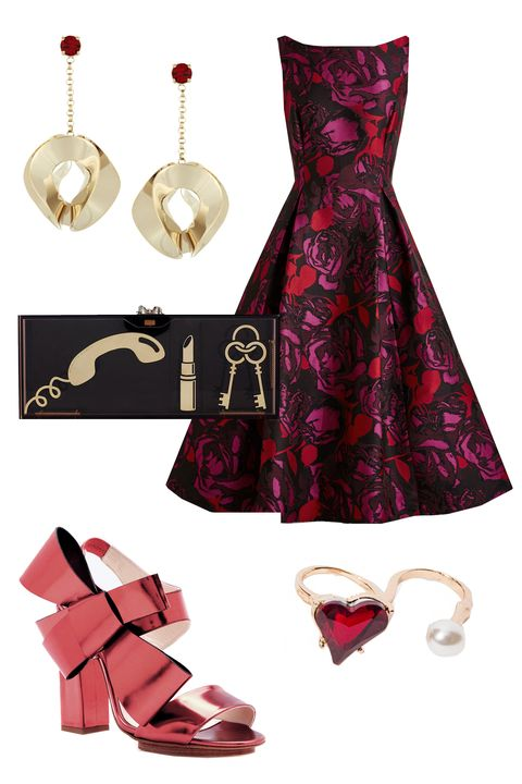"""<p>A clutch that subtly hints at your unfortunate habit of misplacing your phone after a few hot toddies? Exactly what you'd want to flaunt when hanging with your gals. </p><p>Mod Cloth Uptown Twirl Dress, $230; <u><a href=""""http://www.modcloth.com/shop/dresses/uptown-twirl-dress"""" target=""""_blank"""">modcloth.com</a></u><br></p><p>Delpozo Calf Leather Heels with Bow, $792; <a href=""""https://www.modaoperandi.com/delpozo-fw15/calf-leather-heels-with-bow"""" target=""""_blank""""><u>modaoperandi.com</u></a></p><p>Charlotte Olympia Essential Clutch Box, $1,795; <a href=""""http://us.charlotteolympia.com/collections/fall-15/essential-clutch-box/F152836PMT0200.html#cgid=CLUTCH+BAGS&start=19"""" target=""""_blank""""><u>charlotteolympia.com</u></a></p><p>Etro Gold Plated Crystal Earrings, $495; <a href=""""http://www.net-a-porter.com/us/en/product/644081/etro/gold-plated-crystal-earrings"""" target=""""_blank""""><u>net-a-porter.com</u></a></p><p>Pixie Market Heart of Glass Double Ring, $14; <a href=""""http://www.pixiemarket.com/heart-of-glass-double-ring.html"""" target=""""_blank""""><u>pixiemarket.com</u></a><br></p>"""