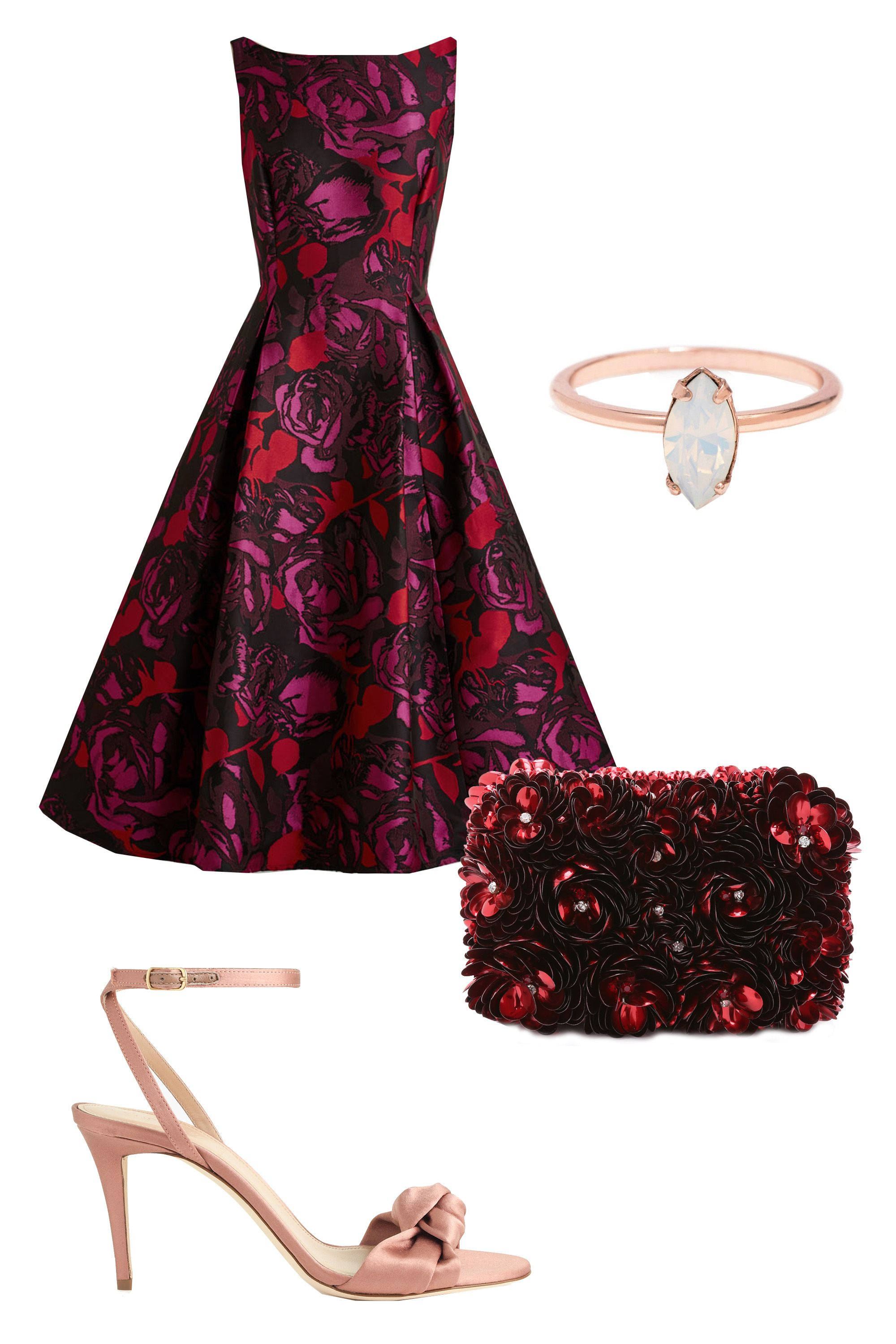 """<p>A retro-inspired dress is enough of a statement piece at a work event, so tone things down with simple rose gold accessories. If you <em>have</em> to add some oomph, a textured clutch in a matching colorway will do the trick.</p><p>Mod Cloth Uptown Twirl Dress, $230; <u><a href=""""http://www.modcloth.com/shop/dresses/uptown-twirl-dress"""" target=""""_blank"""">modcloth.com</a></u><br></p><p>Alice & Olivia Rose Shard Clutch, $297; <a href=""""https://www.shopbop.com/rose-shard-clutch-alice-olivia/vp/v=1/1554232445.htm?folderID=2534374302055387&fm=other-shopbysize-viewall&os=false&colorId=34021"""" target=""""_blank""""><u>shopbop.com</u></a></p><p>Bing Bang NYC Tiny Marquis Ring, $70; <a href=""""http://www.bingbangnyc.com/collections/rings/products/tiny-marquis-ring-opal"""" target=""""_blank""""><u>bingbangnyc.com</u></a></p><p>J. Crew Satin Bow High-Heel Sandals, $220; <a href=""""https://www.jcrew.com/womens_category/shoes/pumpsandheels/PRDOVR~E1162/E1162.jsp?color_name=burnished-shell"""" target=""""_blank"""">jcrew.com</a><br></p>"""