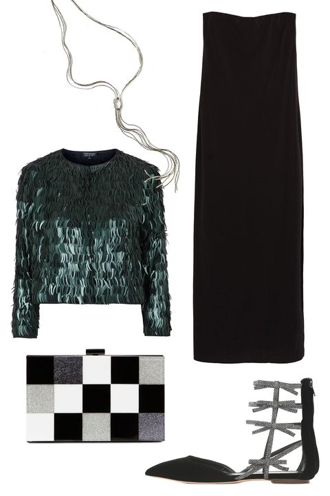 """<p>A strapless LBD might be a bit much when hanging out with your fam, so top it off with sequined jacket that will cover you up while still remaining festive.  </p><p>Zara Dress with Shoulder Slits, $30; <u><a href=""""http://www.zara.com/us/en/woman/dresses/view-all/dress-with-shoulder-slits-c733885p2813065.html"""" target=""""_blank"""">zara.com</a></u><br></p><p><u><a href=""""http://www.zara.com/us/en/woman/dresses/view-all/dress-with-shoulder-slits-c733885p2813065.html""""></a></u>Topshop Feather Sequin Jacket, $150; <a href=""""http://us.topshop.com/en/tsus/product/clothing-70483/jackets-4680211/feather-sequin-jacket-3322356?bi=0&ps=200"""" target=""""_blank""""><u>topshop.com</u></a></p><p>Melting Metal Drop Necklace, $24; <a href=""""http://www.urbanoutfitters.com/urban/catalog/productdetail.jsp?id=37295979&category=W_ACC_JEWELRY"""" target=""""_blank""""><u>urbanoutfitters.com</u></a></p><p>ALDO Edroen Clutch, $28; <a href=""""http://www.aldoshoes.com/us/en_US/handbags/clutches-%26-evening-bags/c/343/EDROEN/p/37597752-79"""" target=""""_blank""""><u>aldoshoes.com</u></a></p><p>J. Crew Velvet Bow Gladiator Flats, $198; <a href=""""https://www.jcrew.com/womens_category/shoes/flats/PRDOVR~E4669/E4669.jsp"""" target=""""_blank""""><u>jcrew.com</u></a></p>"""