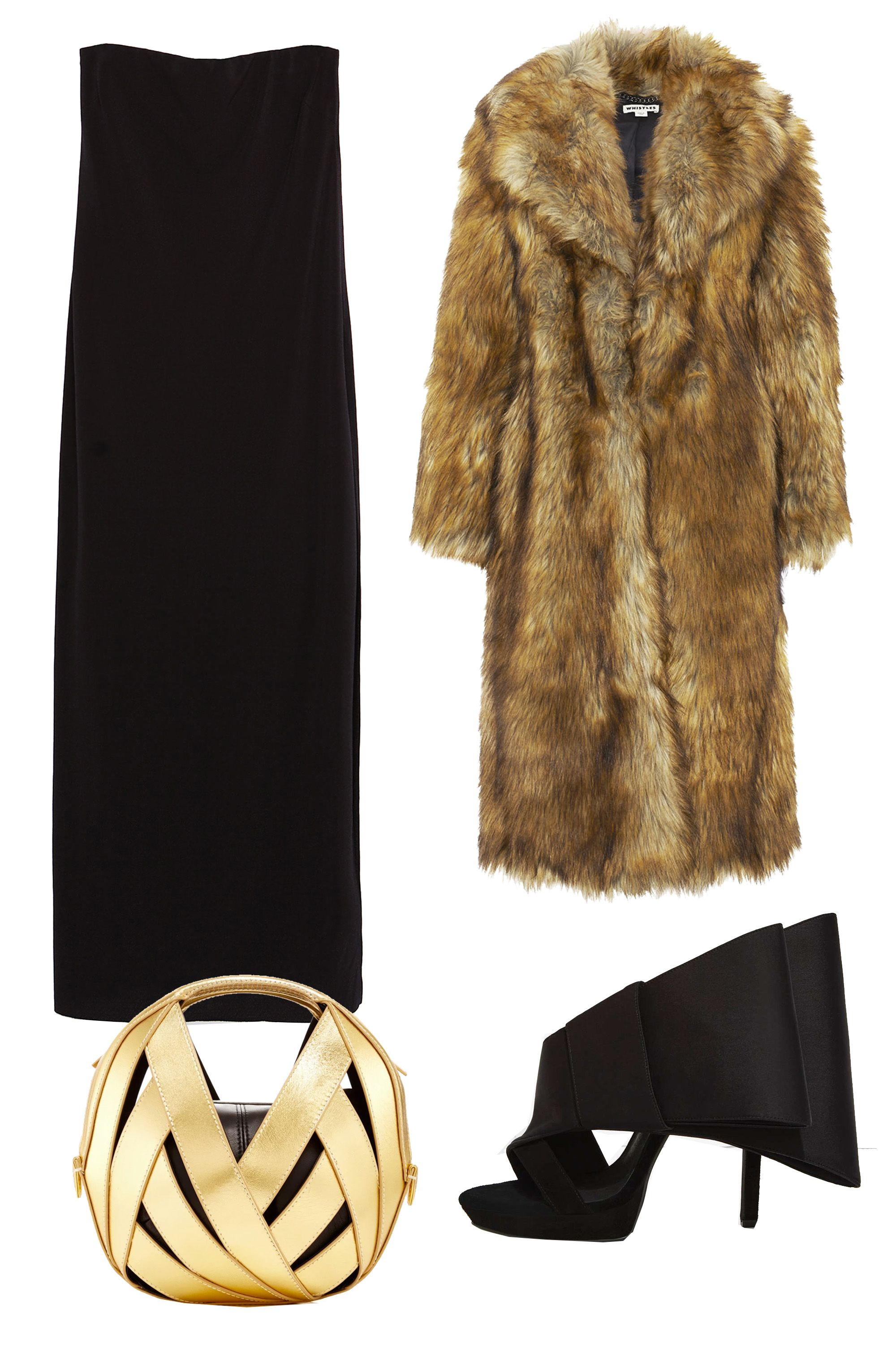 """<p>A major fur coat like this one by Whistles should be worn around people with whom you feel truly comfortable. Paired with a unique gold clutch and sky-high mules, this outfit is meant for sipping martinis with your friends. </p><p>Zara Dress with Shoulder Slits, $30; <u><a href=""""http://www.zara.com/us/en/woman/dresses/view-all/dress-with-shoulder-slits-c733885p2813065.html"""" target=""""_blank"""">zara.com</a></u><br></p><p><u><a href=""""http://www.zara.com/us/en/woman/dresses/view-all/dress-with-shoulder-slits-c733885p2813065.html""""></a></u>Jeffrey Campbell Tuxedo Bow Heel, $160; <a href=""""http://www.nastygal.com/shoes-heels/jeffrey-campbell-tuxedo-bow-heel"""" target=""""_blank""""><u>nastygal.com</u></a></p><p>Perrin Paris Gold Calfskin Riva Ball Bag, $1,200; <a href=""""https://www.modaoperandi.com/perrin-fw15/gold-calfskin-riva-ball-bag-in-small"""" target=""""_blank""""><u>modaoperandi.com</u></a></p><p>Whistles Wolfie Faux Fur Coat, $560; <a href=""""http://www.whistles.com/women/clothing/coats-jackets/wolfie-faux-fur-coat-20350.html?dwvar_wolfie-faux-fur-coat-20350_color=Multicolour#start=1"""" target=""""_blank""""><u>whistles.com</u></a></p>"""