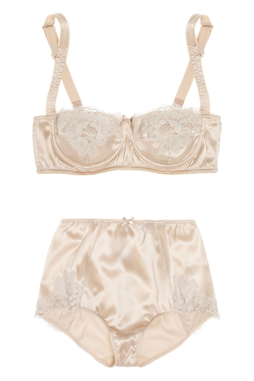 "<p>Dolce & Gabbana Lace-Trimmed Stretch-Silk Satin Balconette Bra, $174; <u><a href=""https://www.theoutnet.com/en-US/product/Dolce-and-Gabbana/Lace-trimmed-stretch-silk-satin-balconette-bra/441461"" target=""_blank"">theoutnet.com</a></u></p><p>Dolce & Gabbana High-Rise Lace-Trimmed Stretch-Silk Satin Briefs, $122; <u><a href=""https://www.theoutnet.com/en-US/product/Dolce-and-Gabbana/High-rise-lace-trimmed-stretch-silk-satin-briefs/441462"" target=""_blank"">theoutnet.com</a></u><br></p>"