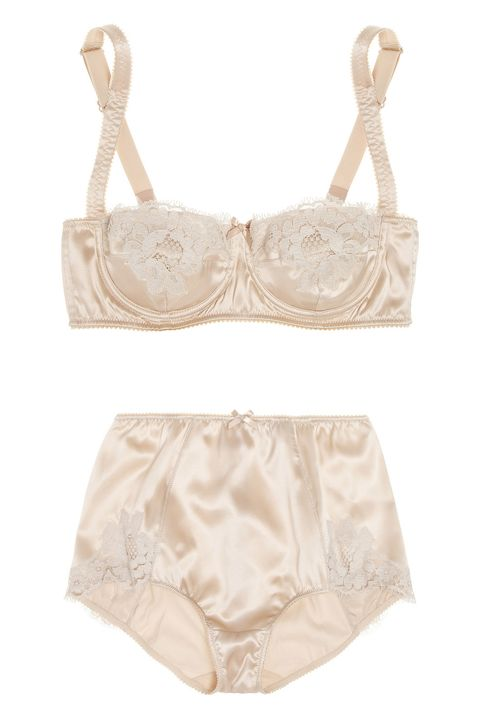 "<p>Dolce & Gabbana Lace-Trimmed Stretch-Silk Satin Balconette Bra, $174; <u><a href=""https://www.theoutnet.com/en-US/product/Dolce-and-Gabbana/Lace-trimmed-stretch-silk-satin-balconette-bra/441461"" target=""_blank"">theoutnet.com</a></u></p><p>Dolce & Gabbana High-Rise Lace-Trimmed Stretch-Silk Satin Briefs, $122; <u><a href=""https://www.theoutnet.com/en-US/product/Dolce-and-Gabbana/High-rise-lace-trimmed-stretch-silk-satin-briefs/441462"" target=""_blank"">theoutnet.com</a></u><br></p>"