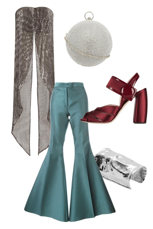 "<p>Yang Li Ultra Flared Trousers, $380; <a href=""http://www.farfetch.com/shopping/women/yang-li-ultra-flared-trousers-item-11233613.aspx?storeid=9446&ffref=lp_pic_15_2_"" target=""_blank""><u>farfetch.com</u></a><br></p><p>Lavish Alice Silver Sequin Maxi Cape Crop Top, $55; <a href=""http://www.lavishalice.com/new-in-c20/silver-sequin-maxi-cape-crop-top-p1917"" target=""_blank""><u>lavishalice.com</u></a></p><p>Miu Miu Patent Leather-Trimmed Satin Sandals, $557; <u><a href=""http://www.net-a-porter.com/us/en/product/614730/Miu_Miu/patent-leather-trimmed-satin-sandals"" target=""_blank"">net-a-porter.com</a></u></p><p><u><a href=""http://www.net-a-porter.com/us/en/product/614730/Miu_Miu/patent-leather-trimmed-satin-sandals"" target=""_blank""></a></u>ALDO Round Box Clutch with Embellishment, $65; <a href=""http://us.asos.com/ALDO-Round-Box-Clutch-with-Embellishment/189sly/?iid=5748488&cid=8730&sh=0&pge=1&pgesize=204&sort=-1&clr=Silver&totalstyles=1098&gridsize=3&mporgp=L0FMRE8vQUxETy1Sb3VuZC1Cb3gtQ2x1dGNoLXdpdGgtRW1iZWxsaXNobWVudC9Qcm9kLw.."" target=""_blank""><u>asos.com</u></a></p><p>Jennifer Fisher XL Crinkle Cuff, $1,320; <a href=""http://jenniferfisherjewelry.com/xl-crinkle-cuff"" target=""_blank""><u>jenniferfisherjewelry.com</u></a></p>"
