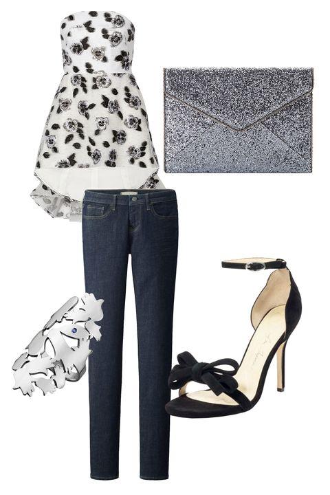 """<p>Uniqlo Ultra Stretch Jeans, $50; <a href=""""http://www.uniqlo.com/us/product/women-ultra-stretch-jeans-138474.html#00~/women/jeans/ultra-stretch/full-length/~"""" target=""""_blank""""><u>uniqlo.com</u></a></p><p>Lela Rose Strapless Fil Coupé Top, $1,895; <a href=""""http://www.net-a-porter.com/us/en/product/641474/lela_rose/strapless-fil-coupe-top"""" target=""""_blank""""><u>net-a-porter.com</u></a></p><p>Isa Tapia Shelby Bow, $395; <a href=""""http://www.clubmonaco.com/product/index.jsp?productId=70485006"""" target=""""_blank""""><u>clubmonaco.com</u></a></p><p>Jennifer Zeuner Sydonia Ring, $198; <a href=""""https://www.jenniferzeuner.com/shop/type/rings/sydonia-ring.html"""" target=""""_blank""""><u>jenniferzeuner.com</u></a></p><p>Rebecca Minkoff Leo Clutch, $95; <a href=""""http://www.rebeccaminkoff.com/leo-clutch-silver-glitter"""" target=""""_blank""""><u>rebeccaminkoff.com</u></a></p>"""