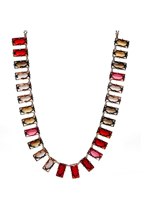 """<p>With a piece this beautiful, there's no need to pile on jewelry. Pair a classy LBD with a multicolored statement necklace and call it a day.</p><p>Fossil Multi Baguette Necklace, $128; <a href=""""https://ad.doubleclick.net/ddm/clk/299580923;126523283;o"""" target=""""_blank"""">fossil.com</a><br></p>"""