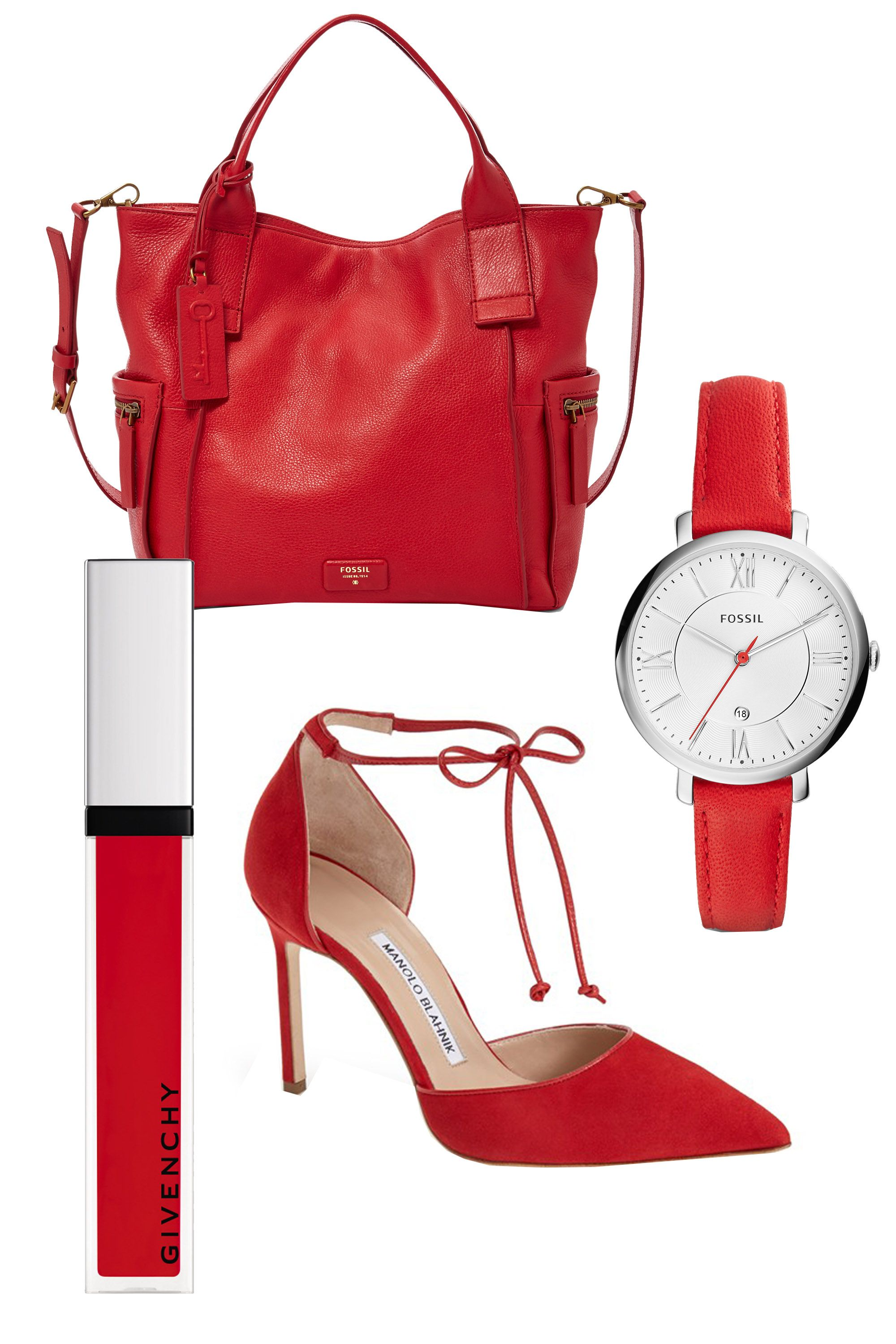 "<p>Yes, you <em>can</em> pile on bold red—with all your pieces in the same hue, you'll looked polished, not over-the-top. (Don't forget the red lip.)</p><p>Fossil Jacqueline Date Red Leather Watch, $95; <a href=""https://ad.doubleclick.net/ddm/clk/299580929;126521682;v"" target=""_blank"">fossil.com</a> </p><p>Fossil Emerson Satchel, $248; <a href=""https://ad.doubleclick.net/ddm/clk/299580928;126521685;x"" target=""_blank"">fossil.com</a> </p><p>Givenchy Beauty Gloss Révélateur, $31; <a href=""http://www.barneys.com/givenchy-beauty-gloss-r%C3%A9v%C3%A9lateur-504221292.html#prefn1=productAccess&sz=48&start=133&prefv1=isPublic"" target=""_blank"">fossil.com</a> </p><p>Manolo Blahnik Ankle Tie d'Orsay Pump, $745; <a href=""http://shop.nordstrom.com/s/manolo-blahnik-ankle-tie-dorsay-pump-women/4071362?origin=category-personalizedsort&contextualcategoryid=0&fashionColor=&resultback=2155"" target=""_blank"">nordstrom.com</a></p>"