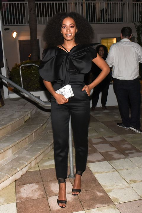 <p>Who: Solange Knowles</p><p>When: December 05, 2015</p><p>Why: Planning on wear a jumpsuit this holiday party season? Make it a statement piece like Solange Knowles's high-shine showstopper.</p>