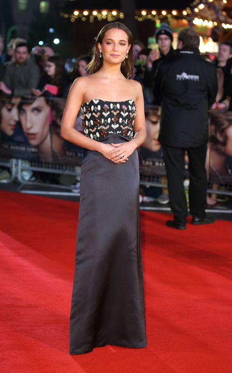 "<p>Who: Alicia Vikander</p><p>When: December 08, 2015</p><p>Why: Alicia Vikander went glam on the red carpet in Louis Vuitton, promoting <em>The Danish Girl</em>, which just garnered her <a href=""http://www.elle.com/culture/movies-tv/news/a32463/golden-globes-nominations-2016-full-list/"" target=""_blank"">a Golden Globe nod for Best Actress</a>. We love how she accessorized her column gown with blinged-out earrings only.</p>"