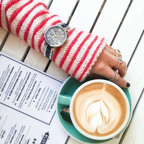 <p>Cozy up to a weekend cappuccino with a classically youthful striped knit. A versatile watch with a dark face and stainless finish keeps things casual, while stacking rings adds edge and a personal touch.</p>